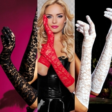 10pc / lot 53cm Lace blace white beige pink red women lady dancing performance gloves fashion evening party  glove free shipping