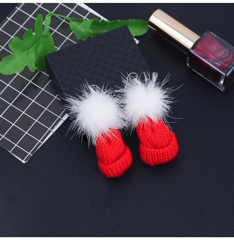 Pom Pom & Cotton Hat Pendants Drop Earrings