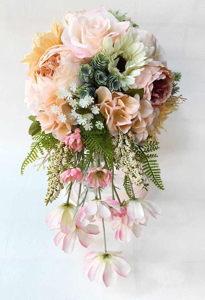 JaneVini Vintage Peony bouquet Da Sposa di cerimonia nuziale del supporto Cascata di Fiori Artificiali bouquet da sposa per le damigelle d'onore Della Sposa Spilla
