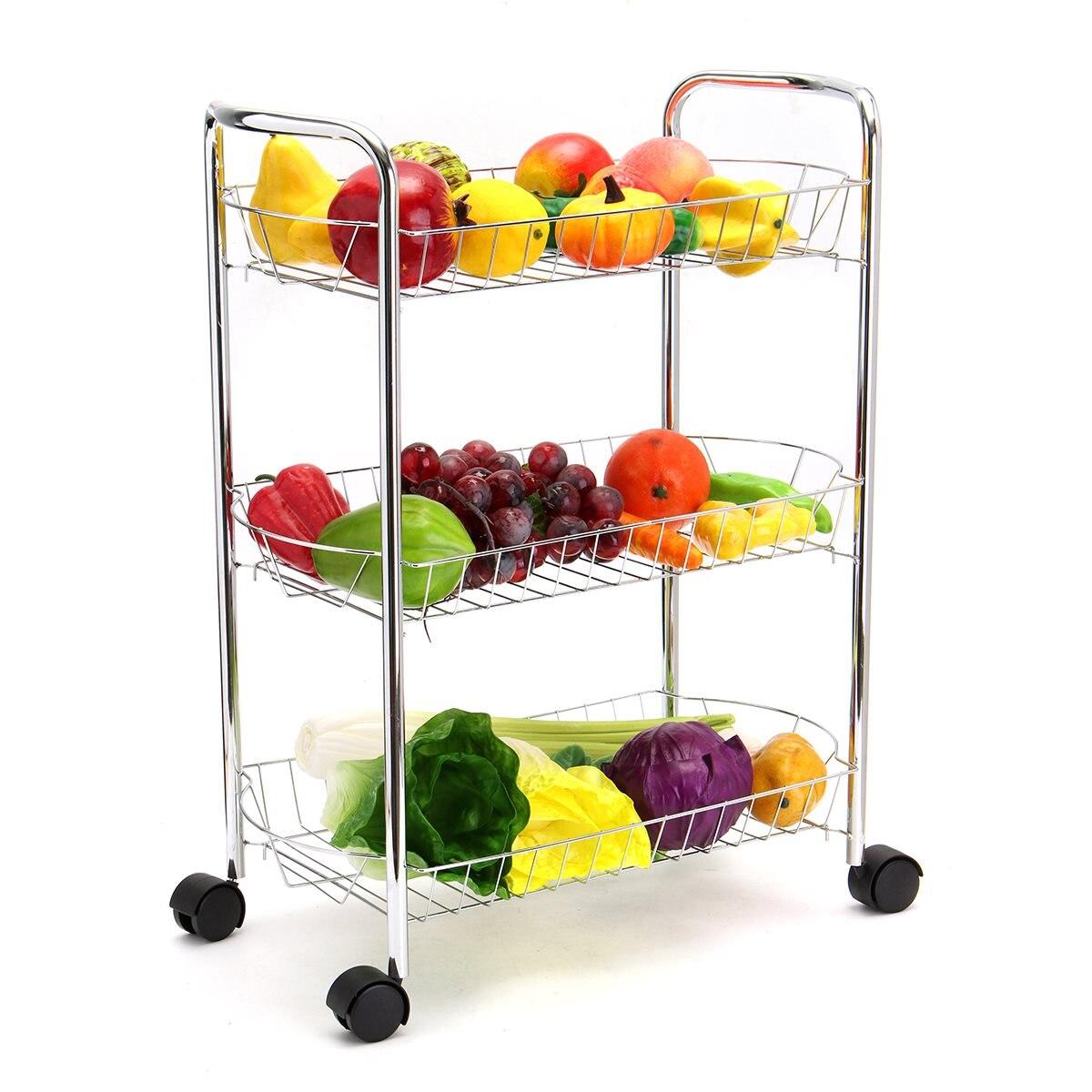 Küche storage metall 3 tier schwere küche trolley multifunktions utility wagen mit rädern einfache bewegen