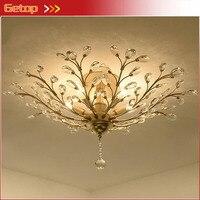 Американский Железный кристалл потолочный светильник люкс Ретро для Спальня Гостиная исследование Обеденная модные E14 светодиодные лампы