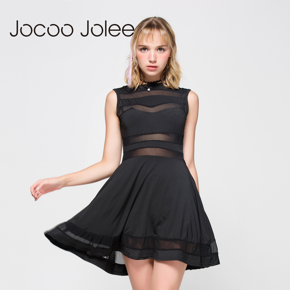 Jocoo Jolee Hollow Sexy Party Sleeveless Gothic Dress Patchwork A line Mini Casual Goth Dress Black