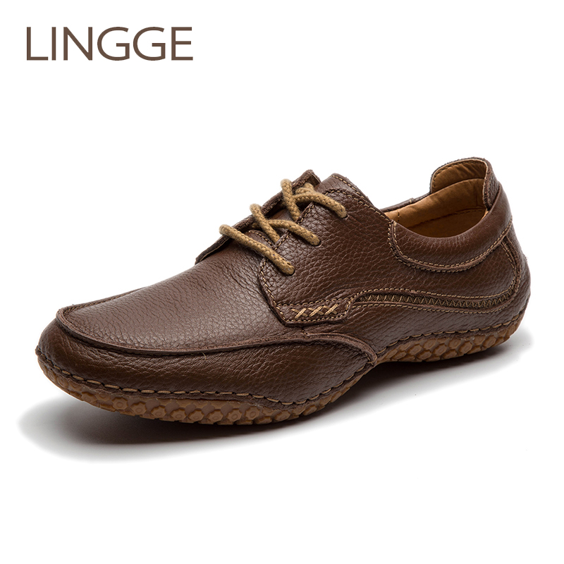 LINGGE Brand Men's Shoes Genuine Leather Casual Shoes Rubber Non-Slip Lace-Up Men Shoe Brown Classical Shoe