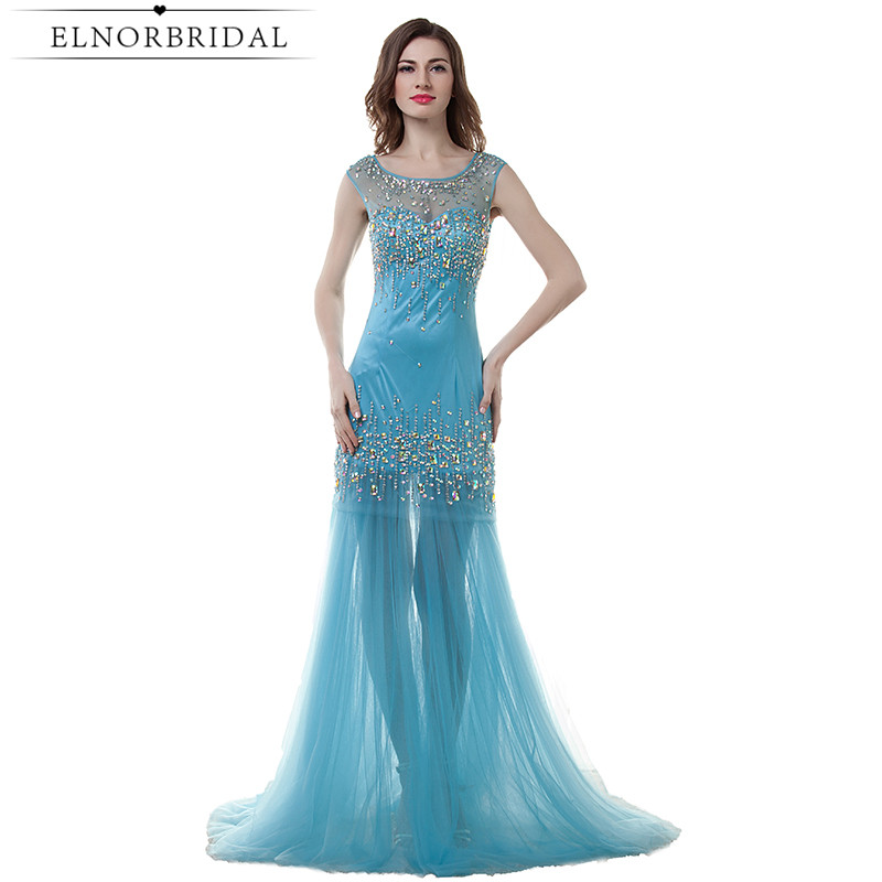 Modest Mermaid Sheer Prom Dresses Long 2017 Special Occasion Illusion Back Robe De Soiree Longue Formal Women Evening Dress