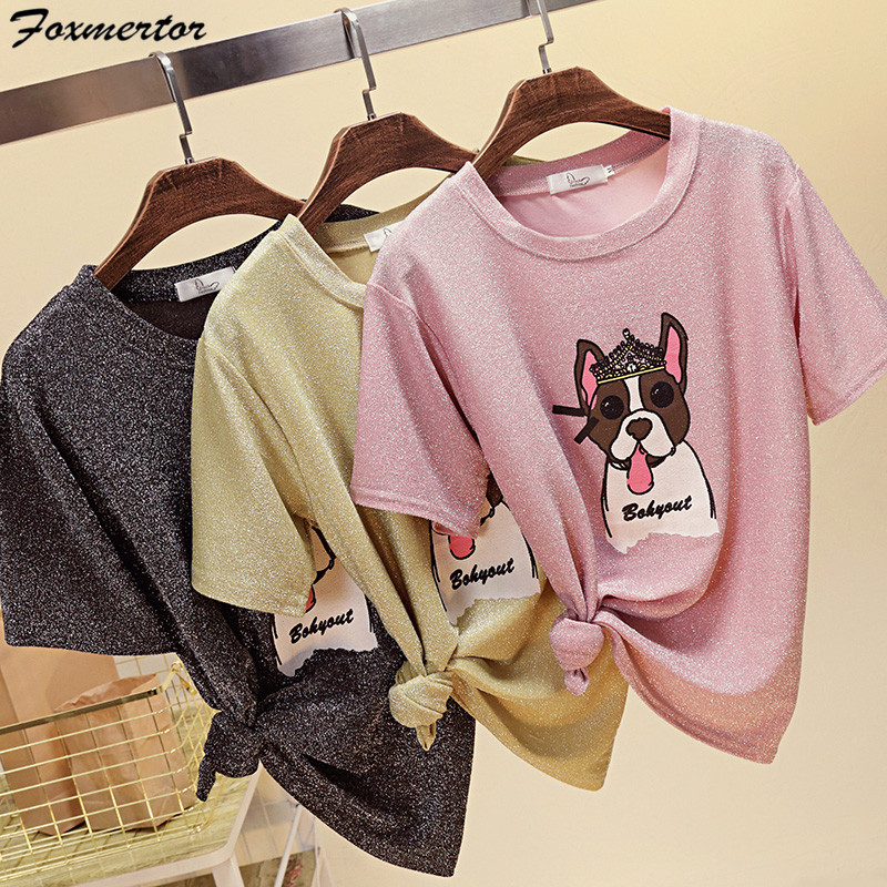Tops Tee O-Neck Bright Silk Wire Summer T shirt women Naughty Dog t shirt Lovely Puppy Printing harajuku Short Sleeves T-shirts