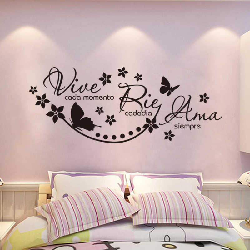 Spanish vinyl wall stickers say Vive Cada Momento Rie Cada Dia Ama Siempre wall stickers mural poster home decoration DW1309