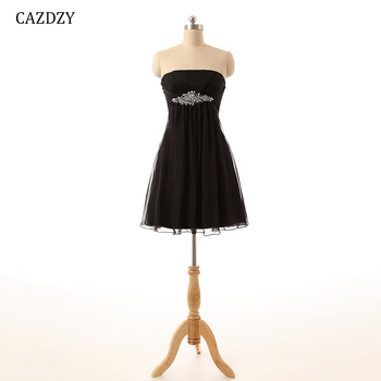 Cazdzy Strapless Cocktail Dress Chiffon 47 Colors With Beading Mini Above knee Simple Wedding party dress cocktail dress