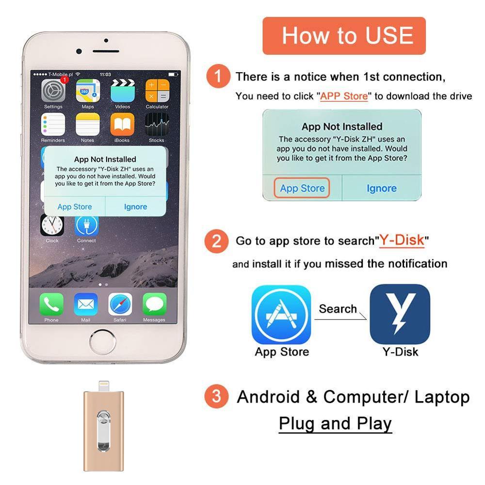 BRU OTG USB Flash Drive 8GB16G32G64G128G256GB For iPad iPhone 5S 6 6S 7 7plus 8 X
