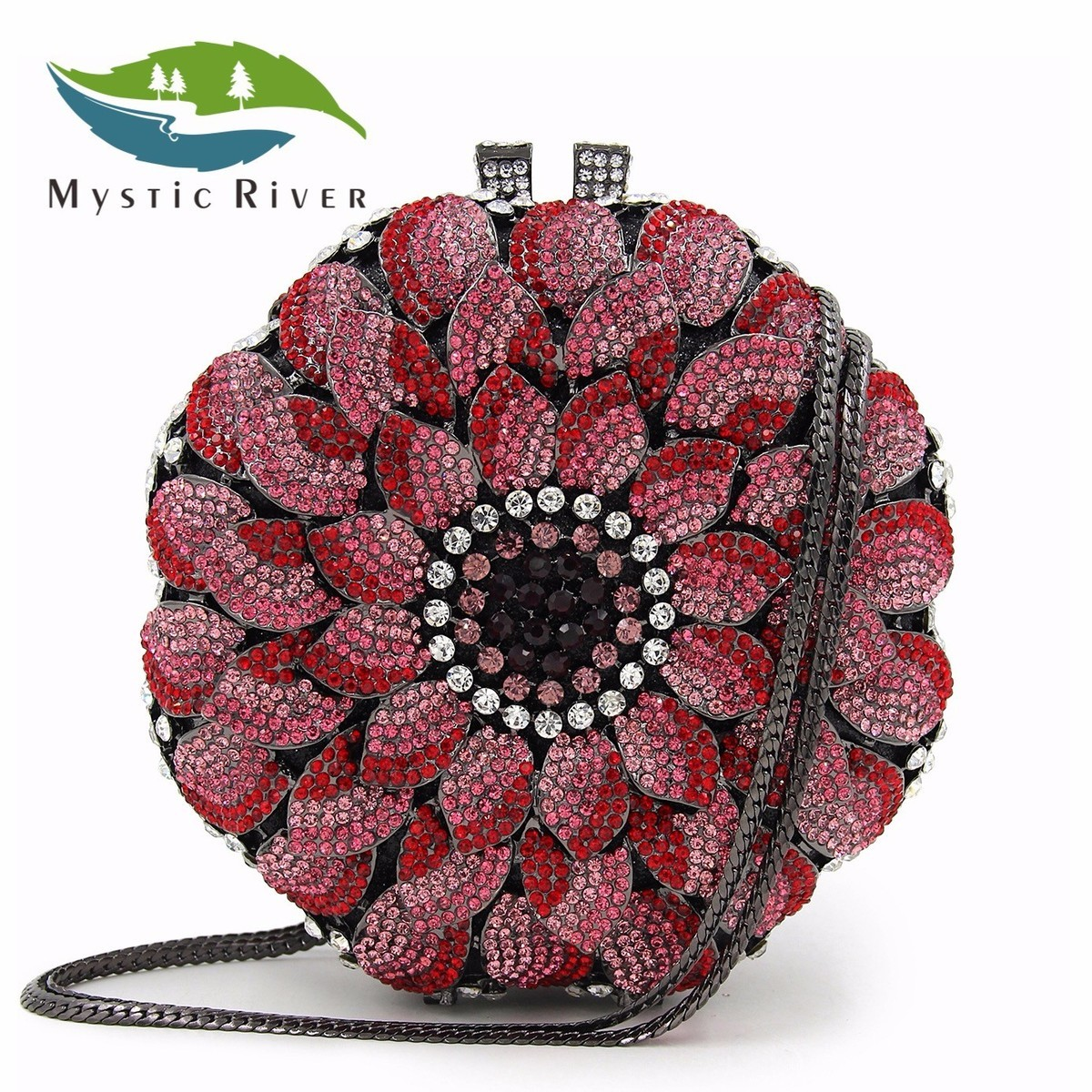 Mystic River Women Flower Crystal Boxes Evening Bags Ball Shape Wedding Handbags Party Purse Lady Day Clutches Silver Pink Small  mystic river designer pearl bags circle shape beaded clutches women wedding bag with chain lady evening clutch purse
