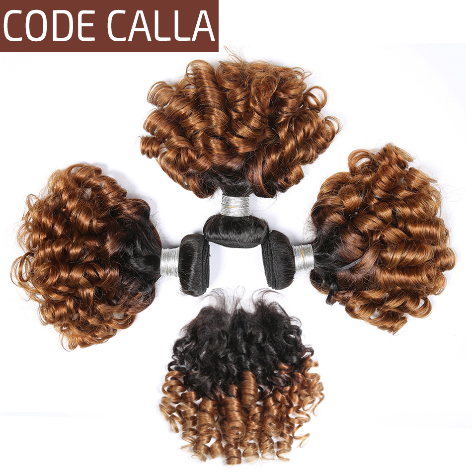 Code Calla Ombre Color Bouncy Curly Bundles With Lace Closure Brazilian Raw Virgin Human Hair Unprocessed Weave Weft Extension