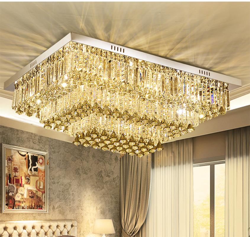 Kristall Wohnzimmer Lampen Rechteckige Licht Moderne Einfache LED Deckenleuchten Continental Atmosphre Schlafzimmer Restaurant LedChina