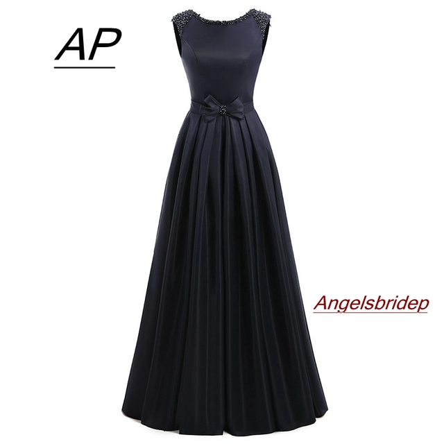 ANGELSBRIDEP Satin Prom Dresses 2020 Vestidos De Fiesta Fashion A line Floor Length Beaded Formal Women Party Dress Gala Jurken