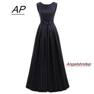 Image 1 - ANGELSBRIDEP Satin Prom Kleider 2020 Vestidos De Fiesta Mode A line Bodenlangen Perlen Formalen Frauen Party Kleid Gala Jurken