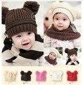 2017 chapéu do inverno do bebê bonito dupla bola de lã crianças chapéus meninas orelha quente cap crianças chapéus de inverno crochet chapéu do bebê das meninas dos meninos
