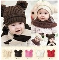 2017 winter baby hat cute double ball woolen kids hats girls warm ear cap kids winter hats baby crochet hat boys girls
