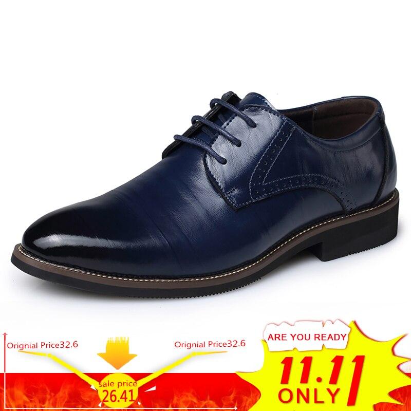 цены на BIMUDUIYU High Quality Oxford Shoes Men Brogues Shoes Lace-Up Bullock Business Dress Shoes Male Formal Shoes Plus Size 38-48 в интернет-магазинах