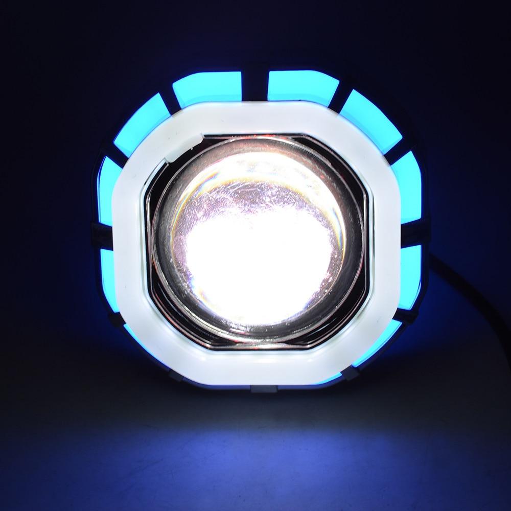 Car Light 30W 12V-85V High/Low Beam 8000K LED Headlight For Motorcycle Angel Eyes White Devil Eye 1200LM/W #1