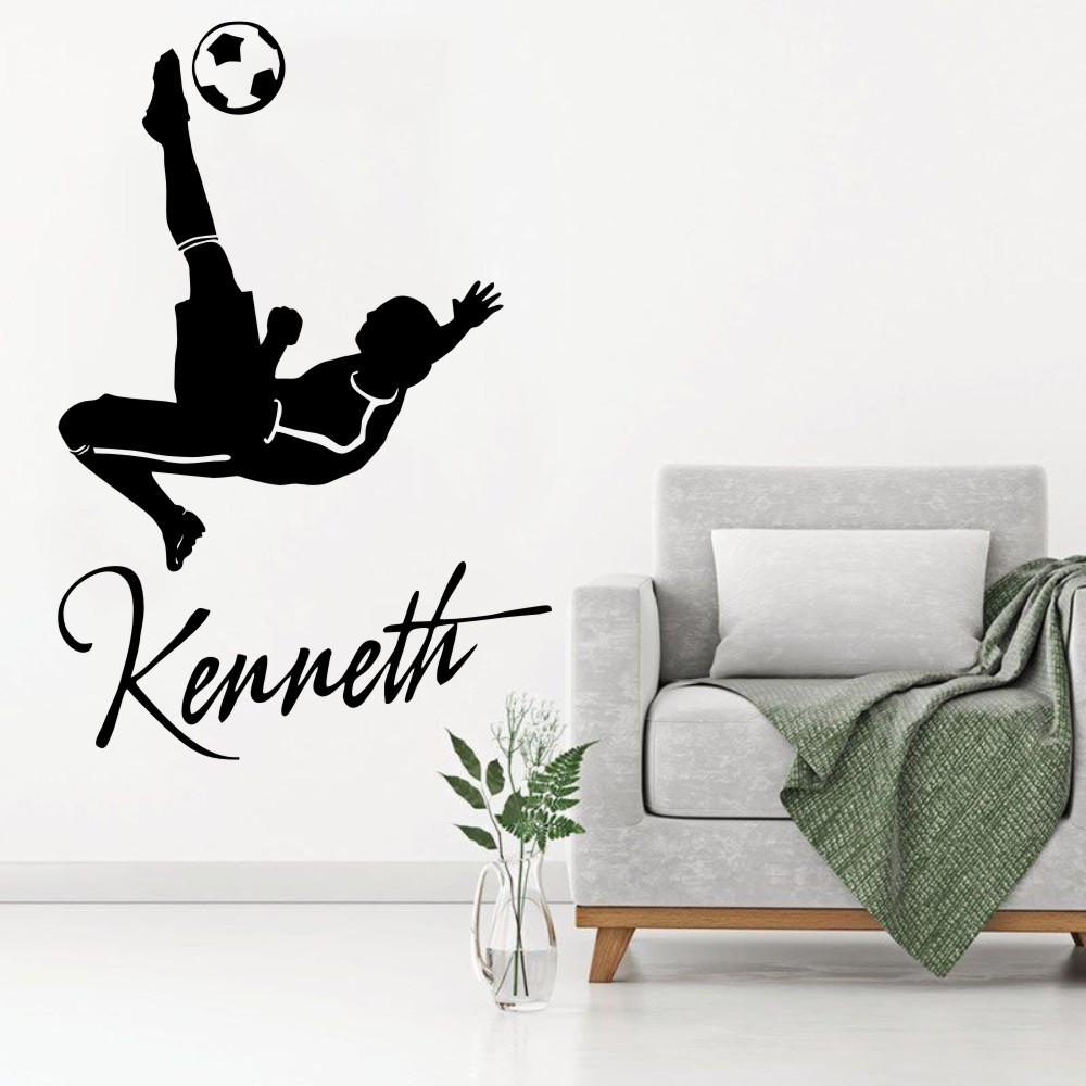 Wall decal custom personalized name kids bedroom decor art football player vinyl sticker diy removable wallpaper poster ww 169 in wall stickers from home