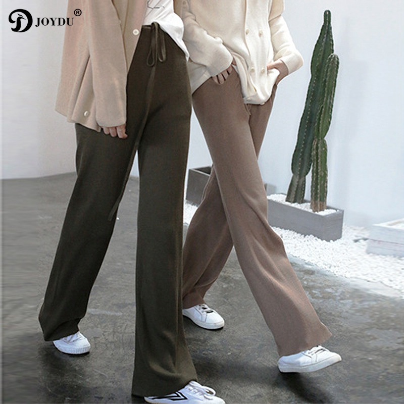 JOYDU Brand   Pants   2018 New Autumn Winter Jersey Knitted   Wide     Leg     Pants   Women High Waist Trousers pantalon femme Casual   Pants