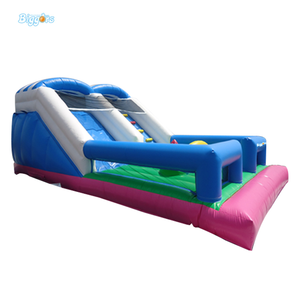 Inflatable Biggors Giant Inflatable Outdoor Dry Slide With Safety Net commercial sea inflatable blue water slide with pool and arch for kids
