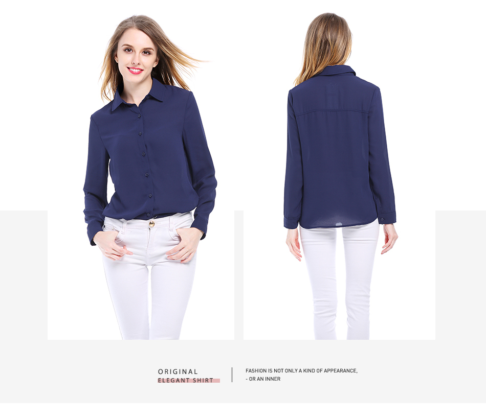 Women's Classic Shirt Chiffon Blouse Loose Long Sleeve Casual Shirts Lady Simple Style Tops 19