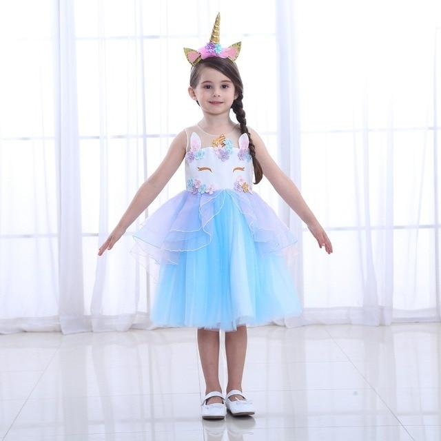 83e9611a620e4 Unicorn Princess Dress Explosive Girls Show Christmas Halloween Gift Mesh  Lace Dress Children's Kids Costume Party Dress Skirt