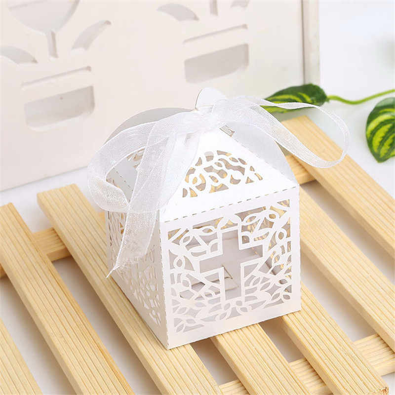50pcs Laser Cut Candy Box Cross Shaped Favor Box with Ribbon Baby Shower Wedding Favors and Gifts Wedding Party Supplies Decor
