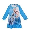 Inverno dos desenhos animados princesa elsa princesa sophia pokemon ir manga longa camisola do bebê meninas vestido para 4-10 anos de idade