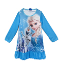 Winter cartoon princess elsa princess sophia pokemon go long sleeve nightgown baby girls dress for 4-10 years old