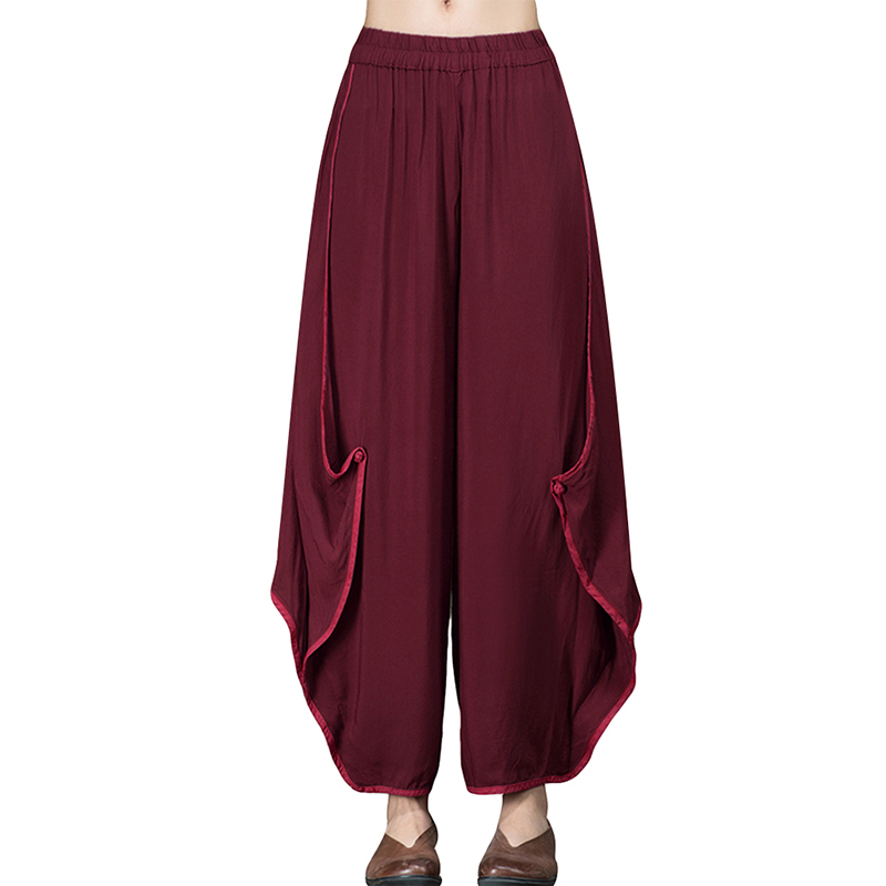 Plus Size Women   Wide     Leg     Pants   Elastic Waist Loose Patchwork Cotton Linen Harem Trousers Solid Casual Loose Streetpants Pantalon