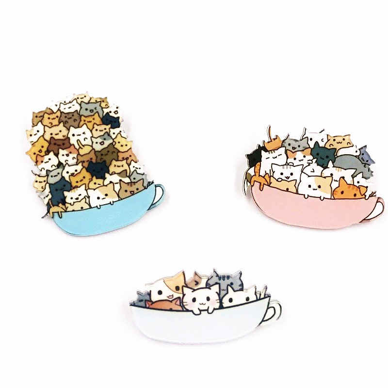 Top selling 1PCS Kinds of Cats in the cup Cartoon Brooch Acrylic Badges Icons on The Backpack Pin Badge for Clothing Hat shoes