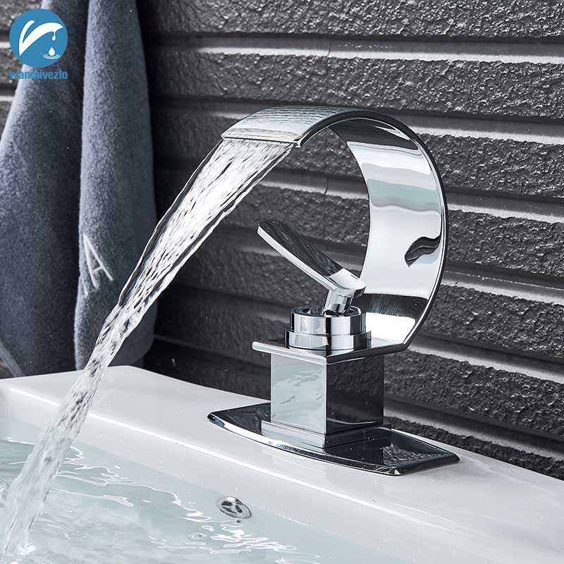 Mixer Faucet Taps Vessel-Sink-Mixer Waterfall Cold-Basin Bathroom Dual-Handles Copper