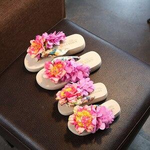 Image 5 - Xmistuo Family Gemonteerd Kind Slippers Seaside Vakantie Tij Baby Flip Flops Schoenen Slip Handgemaakte Bloem Strand Ouder Kind schoenen