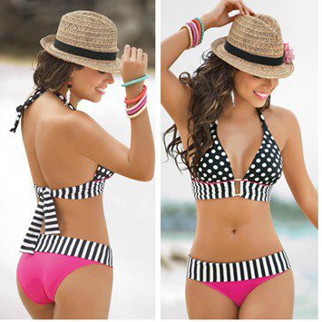 Europe sexy halter Retro Polka Dot bikinis two piece swimsuit podded High elasticity pure color suitwear