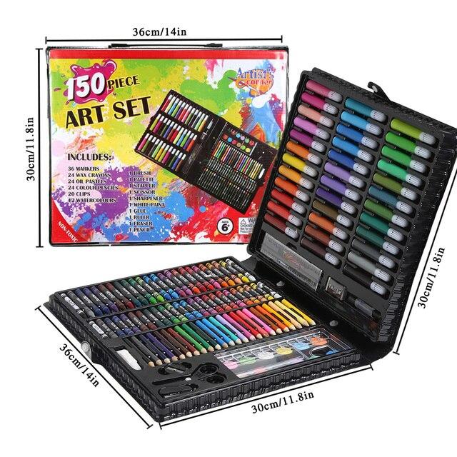 Juego de dibujo de pintura de 150/176 piezas lápices de colores acuarelas para niños estudiantes arte juego de pinceles de pintura