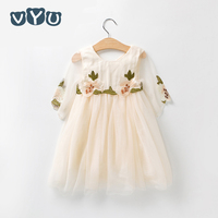 VYU New Brand Children S Clothing Baby Girls Print Dress High Quality White Flower Princess Knee