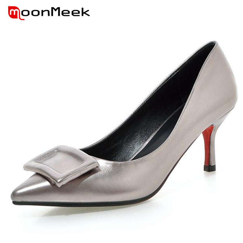 ФОТО MoonMeek Hot sale single shoes four seasons office lady work shoes high heels shoes fashion mature women pumps pointed toe