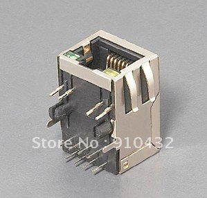 10/100 base-tx RJ45 1*1 PORT with leds 8-pin integrated transformer/magnetics Tab-Down, connector shielding 10PCS/LOT