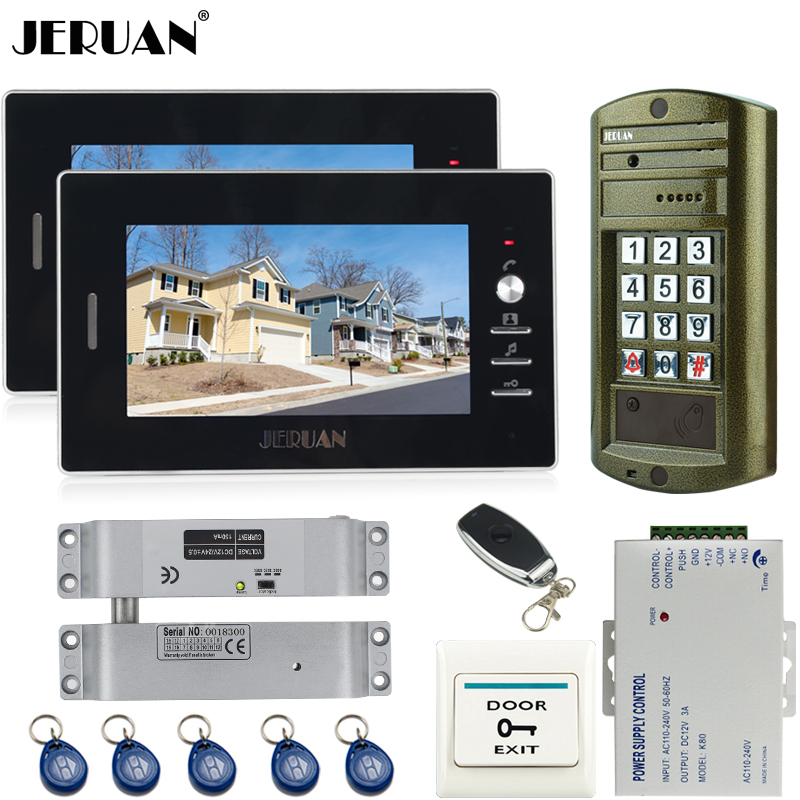 JERUAN Home 7 inch video door phone intercom system kit + NEW Metal waterproof Access password keypad HD Mini Camera +2 Monitor jeruan home 7 inch video door phone intercom system kit new metal waterproof access password keypad hd mini camera 2 monitor