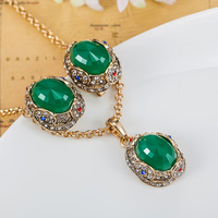 Champagne Antique Gold Vintage Turkish Jewelry Set Noble Statement Necklace And Earrings Set Women Indian Jewelry