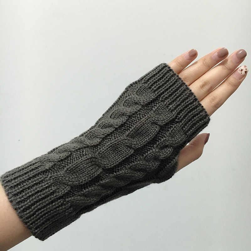 73168e08c0025 ... Stylish Knitted Gloves Autumn Winter Warm Fingerless Gloves Women Unisex  Woolen Long Arm Mittens Female Stretch