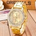 2015 New Brand Famous Gold Crystal Casual Quartz Watch Women Rhinestone Stainless Steel Dress Watches Relogio Feminino Clock Hot