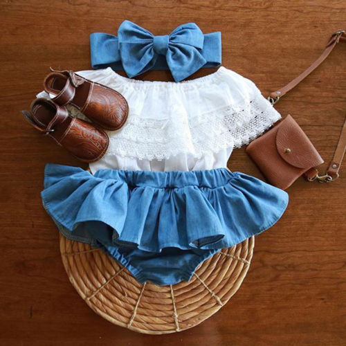все цены на 2pcs Baby Girls Newborn Clothes Lace Tops+Denim TuTu Skirts Dress +Headband Summer Outfits Set Patchwork Chic Clothing Set онлайн