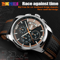 SKMEI New Fashion Men Watches Analog Quartz Wristwatches 30M Waterproof Chronograph Date Leather Band Relogio Masculino