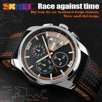 SKMEI New Fashion Men Watches Analog Quartz Wristwatches 30M Waterproof Chronograph Date Leather Band Relogio Masculino