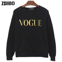 cfbaa3496f Koreański styl zima nowe mody VOGUE drukowanie bluzy w jednolitym kolorze  kobiety O Neck bluza z