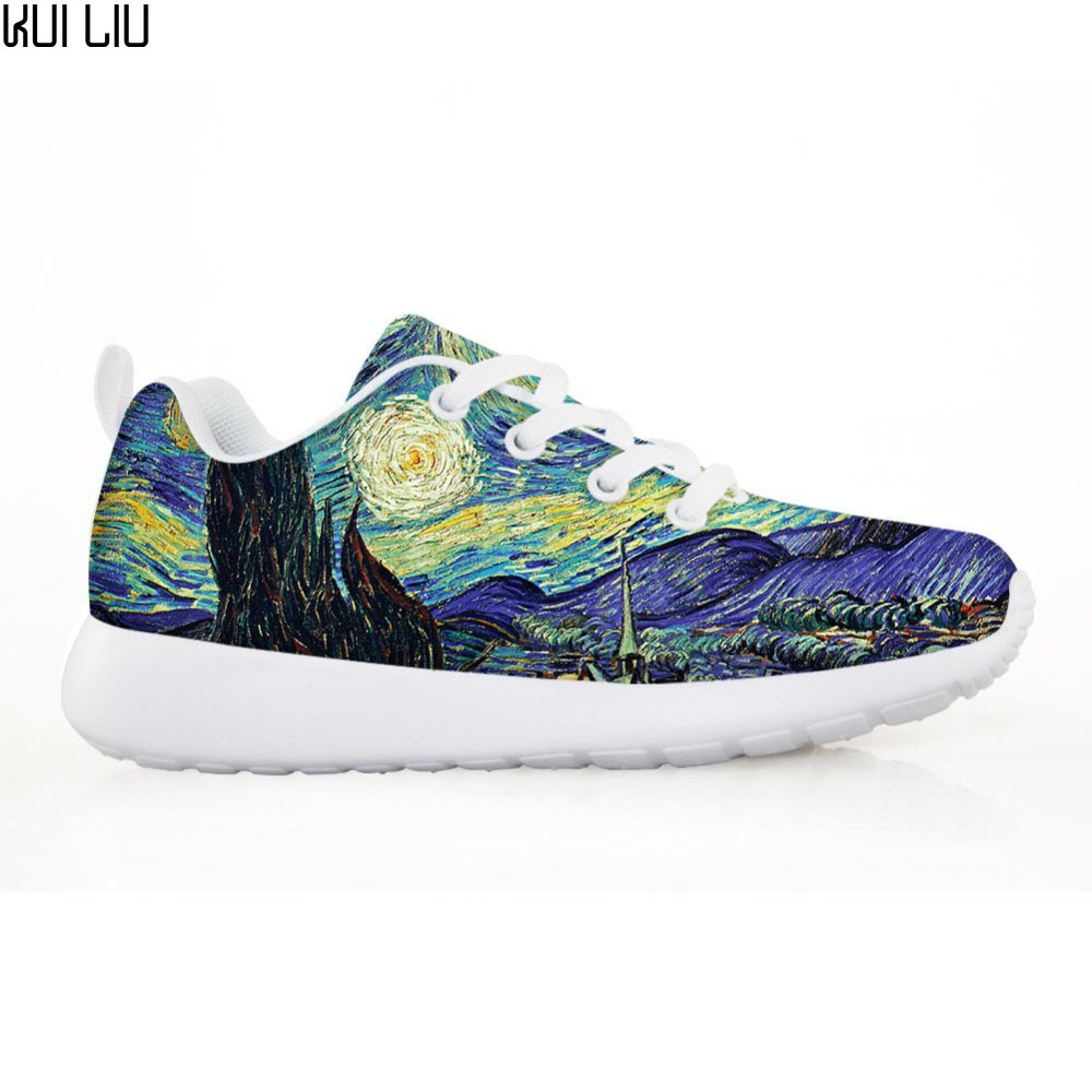 Chaussures enfants personnalisées baskets garçons filles enfants appartements décontracté és chaussures à lacets classiques Vincent van Gogh imprimé nuit étoilée
