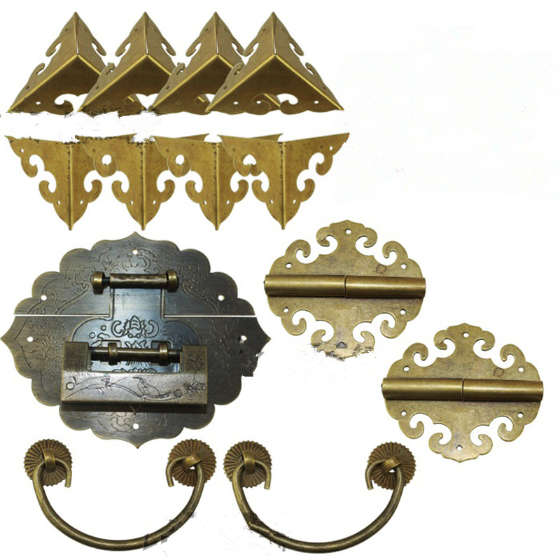 Brass Hardware Set Antique Wooden Box Knobs and Handles+Hinges+Latch+Lock+Corner Protector Furniture Decoration,Chinese StyleBrass Hardware Set Antique Wooden Box Knobs and Handles+Hinges+Latch+Lock+Corner Protector Furniture Decoration,Chinese Style