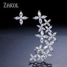 ZAKOL Brand Luxury Cubic Zircon Flower Ear Cuff Stud Earrings For Women Trendy White Gold Color Leaf Jewelry Wholesale FSEP530