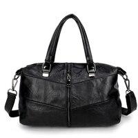Steampunk Pure Sheepskin Genuine Leather Women Messenger Bags Punk Gothic Style Large Capacity Black Travel Women